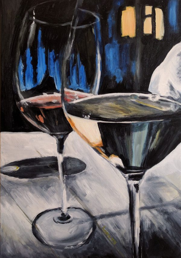 wine glasses acrylic painting art