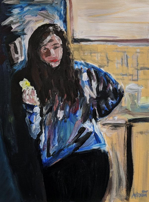 eating an apple. acrylic painting by andrew cuthbert