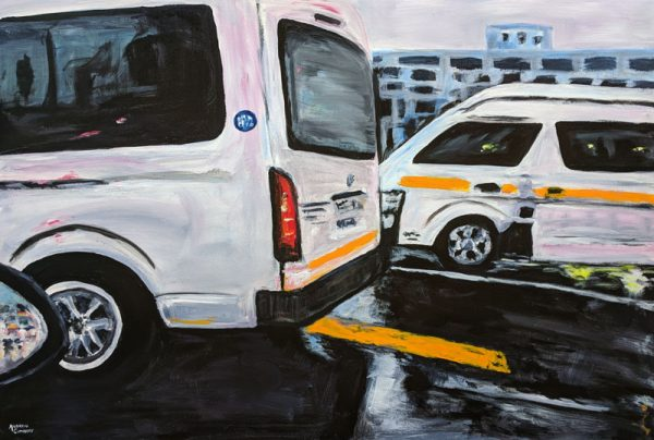 main road express acrylic painting by Andrew Cuthbert